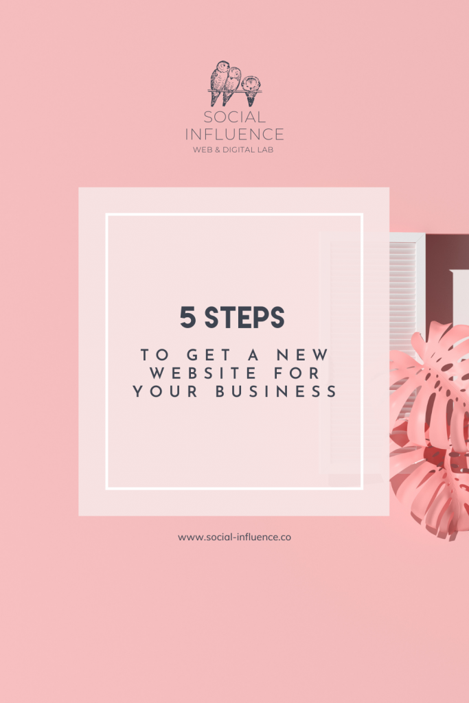 5 Steps to Get a New Website written on a pink pastel background