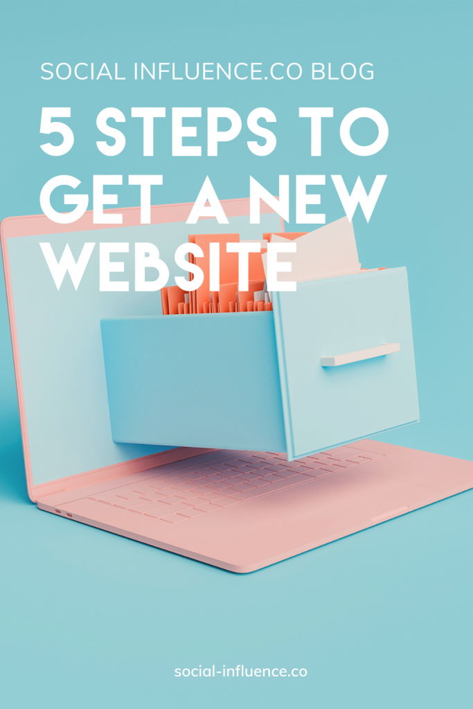 5 Steps to Get a New Website written on a pastel background with a laptop and a drawer coming out of its web screen