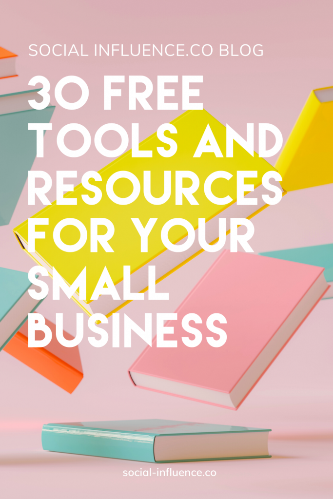 30 Free Tools and Resources for Your Small Business on a pastel background with a lot of flying books